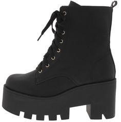 Black Platform Lace Up Boots