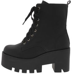 Black vegan leather boots with round toe shaped & cunky thick heels with the hight of about 3 inches with laces. U.S. WOMENS SIZE. Ships from New York in 3days-2weeks for free in the U.S.