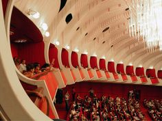 Teatro Regio di Torino by Carlo Mollino. Long line of boxes sloping off from the centre box