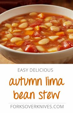 Creamy, tender, cooked-from-scratch lima beans are a real treat in this chunky vegan stew recipe that bursts with fall spices and rich tomato flavors.