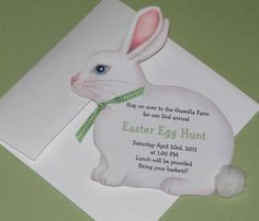 Personalized and Handcut Easter Invitations - Birthday Party Invitations - Easter Rabbit Bunny Egg Hunt Party Invitations #2014 #Easter #Day #card #decor #crafts #ideas www.loveitsomuch.com