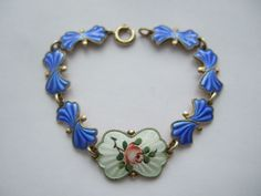 Beautiful Vintage Norway Elvik & Co 925s Sterling Silver Enamel Flower Bracelet