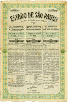 Estado de São Paulo / Republic dos Estados Unidos do Brazil, Dresden, April 1905, 5 % hypothecated Railway Gold Loan of the State of São Paulo for 406 Mark = 500 Francs = £ 19.17.6, Series D, #132944, 49.2 x 32.7 cm, green, ocher, black, heavy folds with tears, spotty, edge damages, rest of coupons, no cancellation.