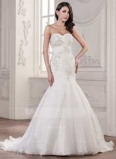 Trumpet/Mermaid Sweetheart Court Train Organza Wedding Dress With Ruffle Beading Appliques Lace Sequins (002056941) - JJsHouse