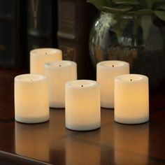 "Ophelia & Co. 6 Piece 5.5"" Glass Tabletop Lantern & Reviews   Wayfair Solid Wood Shelves, Wood Floating Shelves, Geometric Shelves, Floating Candle, Flameless Candles, Pillar Candles, Candle Set, White Candles, Beige"