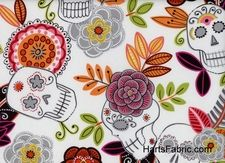 Alexander Henry Day of the Dead Garden Fabric in White (and other awesome Day of the Dead prints!), $9.99/yard