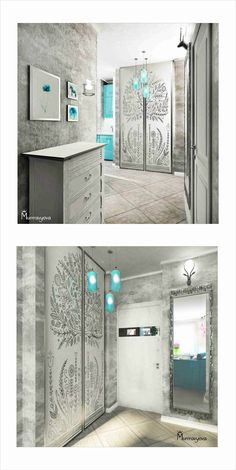 Коридор с серебряным напылением - Hall with silver dust #silver #turquoise #hall #interiordesign #murrravyova