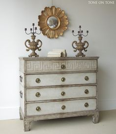 Tone on Tone | fabulous Swedish chest with a Greek Key motif! Gustavian Gray weathered paint is so lovely!
