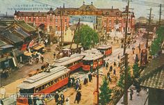 Tokyo 1920s • Manseibashi Station ・ Medium: postcard ・  Streetcars nearby Manseibashi Station in Tokyo as seen from Sudacho. The station, opened on April 1, 1912 (Meiji 45), was designed by architect Kingo Tatsuno (1854-1919).