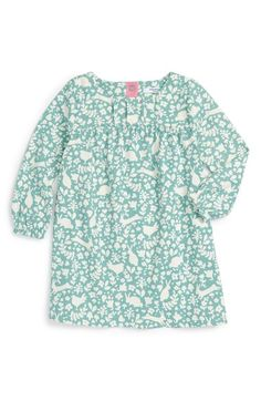 Mini Boden 'Super Soft' Print Long Sleeve Dress (Baby Girls & Toddler Girls)…