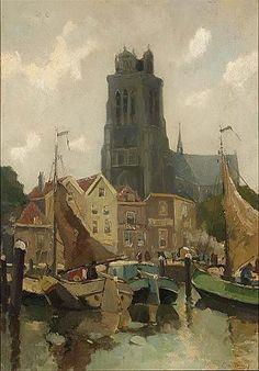Gezicht op haven te Dordrecht ( cornelis de Bruijn )