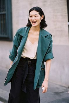 Japanese model Chiharu Okunugi, after Sonia Rykiel in Paris, September 2013.: