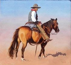 """Red River Cowboy - 24"""" x 24"""" Oil by Tony Eubanks.  Tony shows in numerous shows throughout the year, including the Prix de West Invitational in Oklahoma City, """"Quest For the West"""" Invitational show in Indianapolis, and the Northwest Rendezvous, of which he is a member."""
