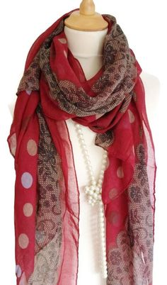 Chic Red Brown Cream Lace Spot  Pashmina Scarf Wrap Shawl Neck Warmer Cowl #unbranded #Pashmina