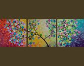 """Ready to Ship - Original Modern Abstract Heavy Texture Impasto  Painting Landscape Tree Wall Decor """"365 Days of Happiness"""" By qiqigallery"""
