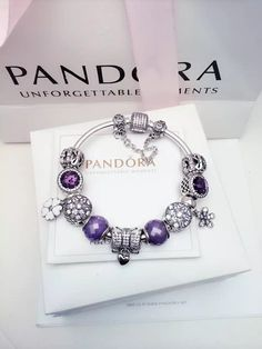 50% OFF!!! $299 Pandora Charm Bracelet Purple White. Hot Sale!!! SKU: CB02089 - PANDORA Bracelet Ideas