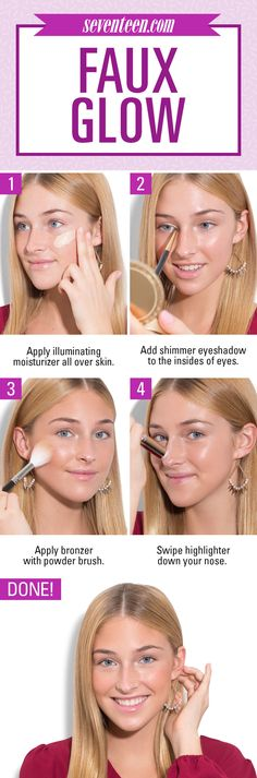 Getting a gorge glow means not just focusing on your skin! Applying white or silver shadow to the insides of your eyes will brighten up your entire face, making your peepers look wide open. The shimmer shadow reflects light, making you look like you slept a full eight hours.