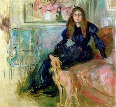 Berthe Morisot - Girl with Grayhound, 1893 (Musee Marmottan, Paris) This is Julie Manet,  Morisot's daughter.