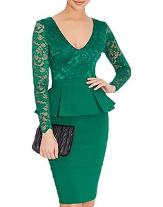 bda25dfae6 WOOSEA Women s V Neck Long Lace Sleeves Peplum Midi Cocktail Party Dress  (Small