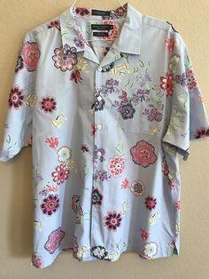 63a23182f Daniel Cremieux Shirt Mens Size XL Hawaiian Floral Short Sleeve Button Front