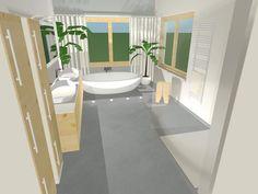 Modernes Bad  3D Visualisierung  Die Kombination von hellem Holz und die Betonoptik der Wand-und Fussbodenplatten schaffen eine moderne, warme Atmosphäre.