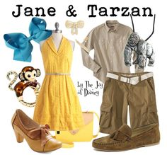 Couple outfits inspired by Jane & Tarzan! Disney Couple Outfits, Couple Disney, Disney Couple Costumes, Disney Couples, Disney Clothes, Dapper Day Outfits, Cute Outfits, Matching Outfits, Tarzan