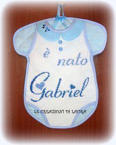fiocco nascita body x bimbo + è nato Gabriel