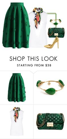 """Midi Green Goddess!"" by lollahs ❤ liked on Polyvore featuring Chicwish, Bourbon and Boweties, Love Moschino, Michael Kors and Liliana"