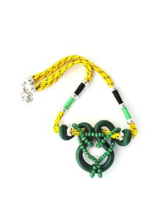 Nautical rope, Green Polymer and Green Crystals in this statement necklace. Fiber Jewelry. Nautical rope in yellow. OOAK. For Lady