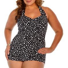4948615738b0c Catalina - Suddenly Slim by Catalina Women s Plus-Size Slimming Shirred  Halter One-Piece Swimsuit - Walmart.com