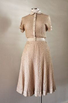 Sweet 1950s Ribbon Weave Twin Set Skirt Matching by TastefulShop, $72.00 Women's vintage fashion clothing for spring fall
