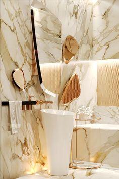 bathroom, white yellow brown marble tiles, golden accent near the mirror, white …, - Marble Bathroom Tumblr Wall Decor, Lavabo Design, Marble Tiles, Mirror Tiles, Mirror Mirror, Marble Stairs, Marble Floor, Luxury Home Decor, Luxury Interior