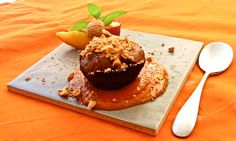 Chocolate cake in peach sauce