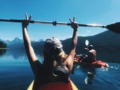 kayaking in lake mcdonald @ glacier // averyllynn Kayak Pictures, Lake Pictures, Outdoor Pictures, Vacation Pictures, Summer Pictures, Cool Pictures, Lake Mcdonald, Canoe Camping, Hiking Photography