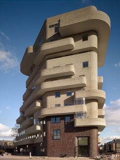 Apartment building in Enschede, the Netherlands by Felix Claus. Organic Architecture, Futuristic Architecture, Beautiful Architecture, Beautiful Buildings, Residential Architecture, Contemporary Architecture, Architecture Details, Miami Art Deco, Unusual Buildings