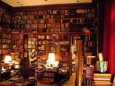 Morgan's lair -- fitting with floor to ceiling books.