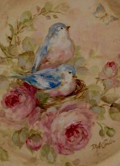 """Decoupage """"shabby vintage""""-style art with bluebirds and roses by Debi Coules Vintage Shabby Chic, Shabby Chic Decor, Vintage Style, Blue Shabby Chic, Shabby Chic Fabric, Vintage Cards, Vintage Images, Decoration Shabby, Illustration Blume"""