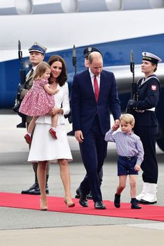 The royal family touched down in Warsaw on Monday to begin their five-day tour of Poland and Germany.  The Duke and Duchess of Cambridge are joined on the trip by their children: 3-year-old Prince George and 2-year-old Princess Charlotte.  The royals disembarked the plane with the Duchess of Cambridge