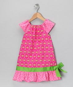 Take a look at this Pink & Lime Ruffle Peasant Dress - Toddler & Girls by Just Ducky Originals on #zulily today!