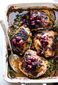 Balsamic Roasted Chicken with Cranberries cooked in ONE PAN! This Paleo Cranberry Balsamic Roasted Chicken makes a healthy one pan dinner or holiday dish.