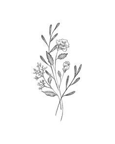 Botanical Elegant Flower Bouquet - Modern Minimal Drawing of Simple Black and White Wildflowers - Di Elegant Flowers, Simple Flowers, Wild Flowers, Wildflower Drawing, Wildflower Tattoo, Flower Bouquet Tattoo, Flower Tattoos, Simple Flower Tattoo, Simple Flower Drawing