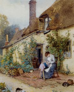 View A lace maker by Myles Birket Foster on artnet. Browse upcoming and past auction lots by Myles Birket Foster. Paintings I Love, Beautiful Paintings, Farm Paintings, Lace Painting, Watercolour Painting, Lace Art, Art Du Fil, Cottage Art, Sewing Art