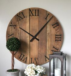 Oversized Wall Clock. Natural Wooden Wall By WoodLaneCreationsLLC