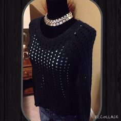 Rock & Republic Black Holed Sweater, Size S Rock & Republic Black Holed Sweater, Size S, put tank underneath to show the holes, worn twice, high/low style  trades  wear ✅ pet and smoke free home ✅ bundle discounts only Rock & Republic Sweaters Crew & Scoop Necks