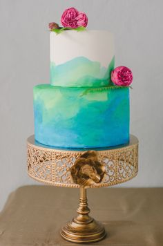 Sweet watercolor cake. Photography: RachelPearlmanPhotography.com, Cake: CakeStandBakery.com - Read More: http://www.stylemepretty.com/2014/05/29/winter-to-spring-wedding-inspiration/