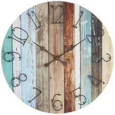 A pattern of perfectly distressed panels creates the colorful, textured design of our exclusive wall clock. With thin, wrought iron numbers on a background inspired by the look of reclaimed beach wood, it has a modern design that naturally adds character to your space.