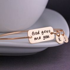 Jewelry for Mom Gold God Gave Me You Bracelet by georgiedesigns