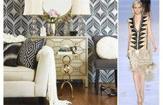 The runway resurgence of Art Deco-inspired geometric patterns in black, white and cream is reflected in the interior-design world.