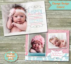 Girl Birth Announcement Photoshop Template by OrangeBlossomPress