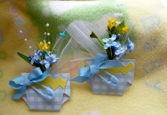 Bebé ducha ramillete... Pañal con flores... Azul...